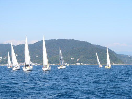 10:30スタート  各艇、より有利なポジションを争いながら風を読み初島を目指します。